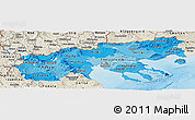 Political Shades Panoramic Map of Makedonia, shaded relief outside