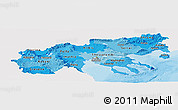 Political Shades Panoramic Map of Makedonia, single color outside