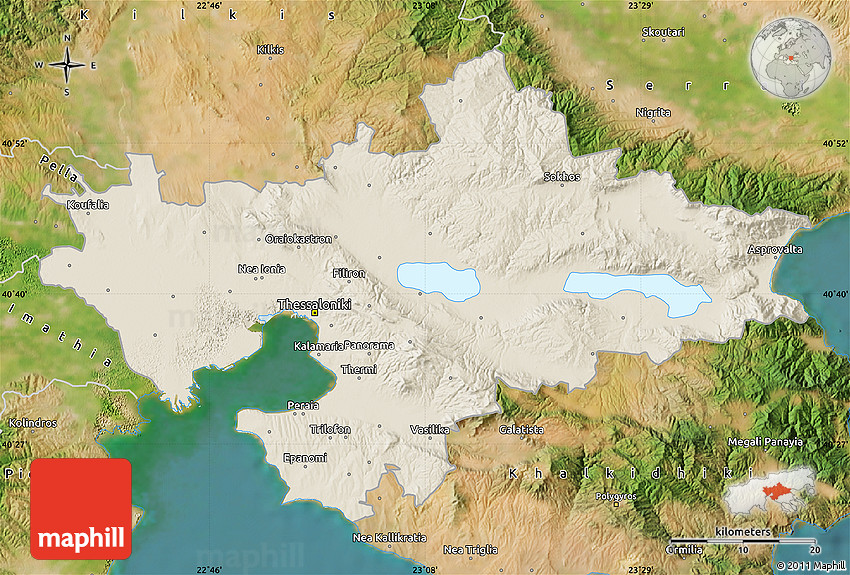 Shaded Relief Map of Thessaloniki satellite outside
