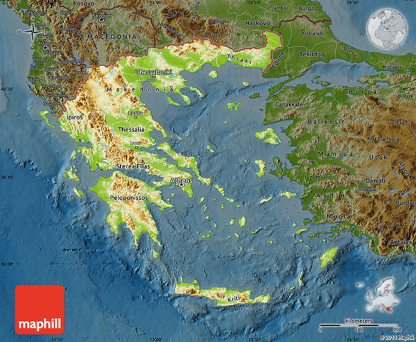 Physical Map of Greece, darken