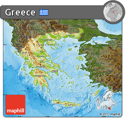 Free Physical Map of Greece darken land only