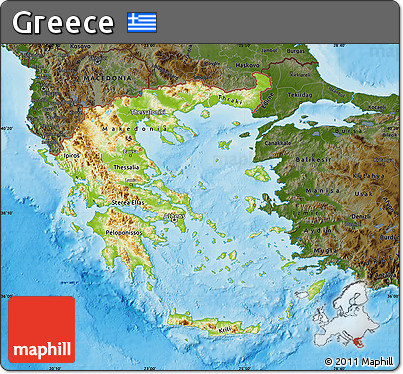 Free Physical Map of Greece, darken, land only