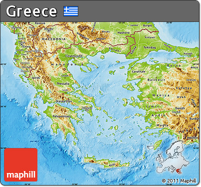 Free Physical Map of Greece