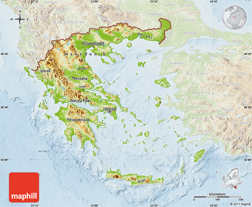 Physical Map of Greece, lighten