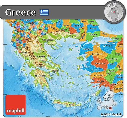 Free Physical Map of Greece political outside shaded relief sea