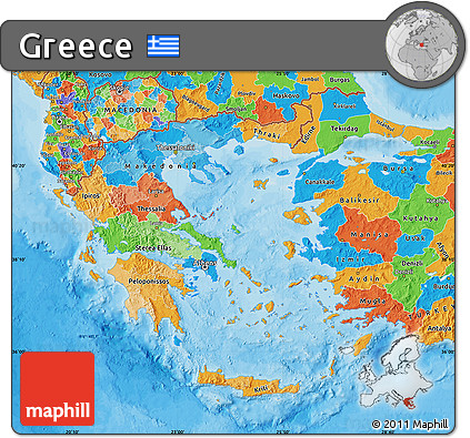 Free Political Map of Greece