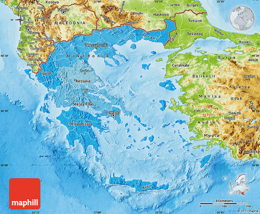 Political Shades Map of Greece physical outside