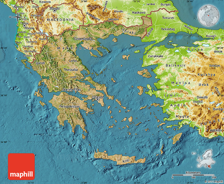 Satellite Map of Greece, physical outside, satellite sea