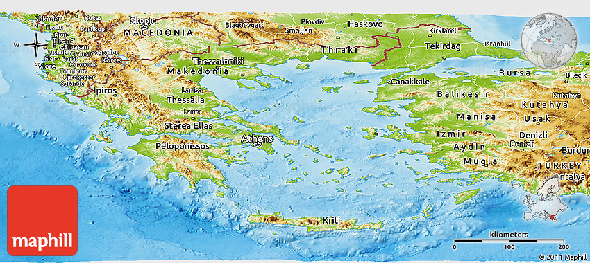Physical Panoramic Map of Greece