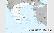 Gray Simple Map of Greece