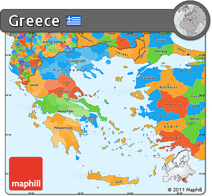 Free Political Simple Map of Greece