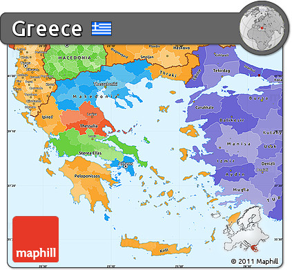 Free Political Simple Map Of Greece Political Shades Outside