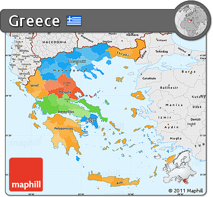 Free Political Simple Map of Greece single color outside borders