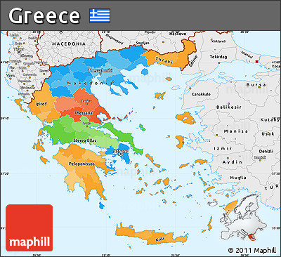 Free Political Simple Map Of Greece Single Color Outside Borders - Political map of greece