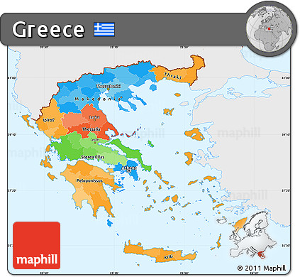 Free Political Simple Map Of Greece Single Color Outside