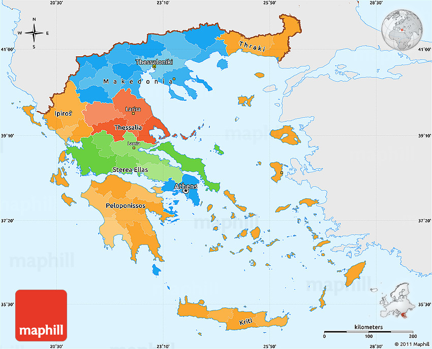 Political Simple Map of Greece single color outside