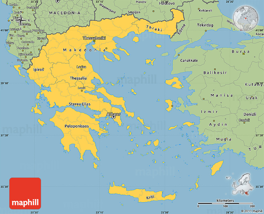 Savanna Style Simple Map of Greece