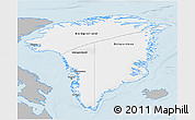 Gray 3D Map of Greenland, single color outside