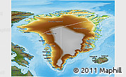 Physical 3D Map of Greenland, darken, land only