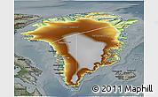Physical 3D Map of Greenland, darken, semi-desaturated