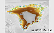 Physical 3D Map of Greenland, lighten, desaturated