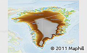 Physical 3D Map of Greenland, lighten
