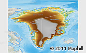 Physical 3D Map of Greenland, lighten, semi-desaturated, land only