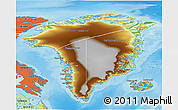 Physical 3D Map of Greenland, political outside, shaded relief sea