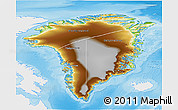 Physical 3D Map of Greenland, single color outside