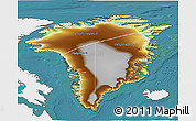 Physical 3D Map of Greenland, single color outside, satellite sea