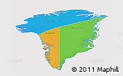 Political 3D Map of Greenland, cropped outside