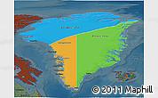 Political 3D Map of Greenland, darken