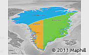 Political 3D Map of Greenland, desaturated