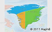 Political 3D Map of Greenland, lighten