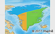 Political 3D Map of Greenland, political shades outside