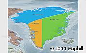 Political 3D Map of Greenland, semi-desaturated