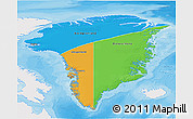 Political 3D Map of Greenland, single color outside