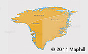 Political Shades 3D Map of Greenland, cropped outside