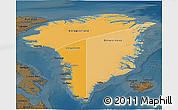 Political Shades 3D Map of Greenland, darken