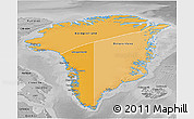 Political Shades 3D Map of Greenland, desaturated