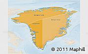 Political Shades 3D Map of Greenland, lighten