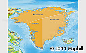 Political Shades 3D Map of Greenland, physical outside
