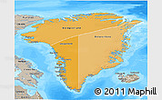 Political Shades 3D Map of Greenland, semi-desaturated, land only