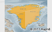 Political Shades 3D Map of Greenland, semi-desaturated