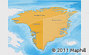 Political Shades 3D Map of Greenland, single color outside