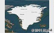 Satellite 3D Map of Greenland, darken