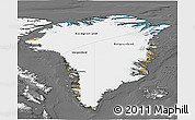 Satellite 3D Map of Greenland, desaturated