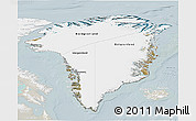Satellite 3D Map of Greenland, lighten