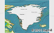Satellite 3D Map of Greenland, physical outside, satellite sea