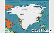 Satellite 3D Map of Greenland, political outside, satellite sea